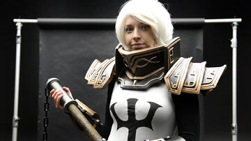 cosplay maker posing for Instagram photoshoot