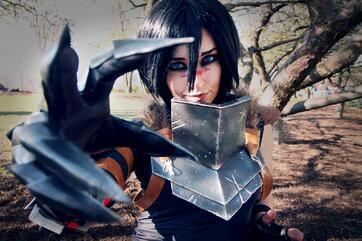 Cosplay maker showing off armor and claws cosplay