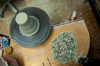 Throwing Wheel and Clay