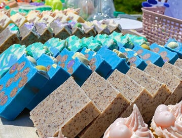Handmade soap bars with intricate designs