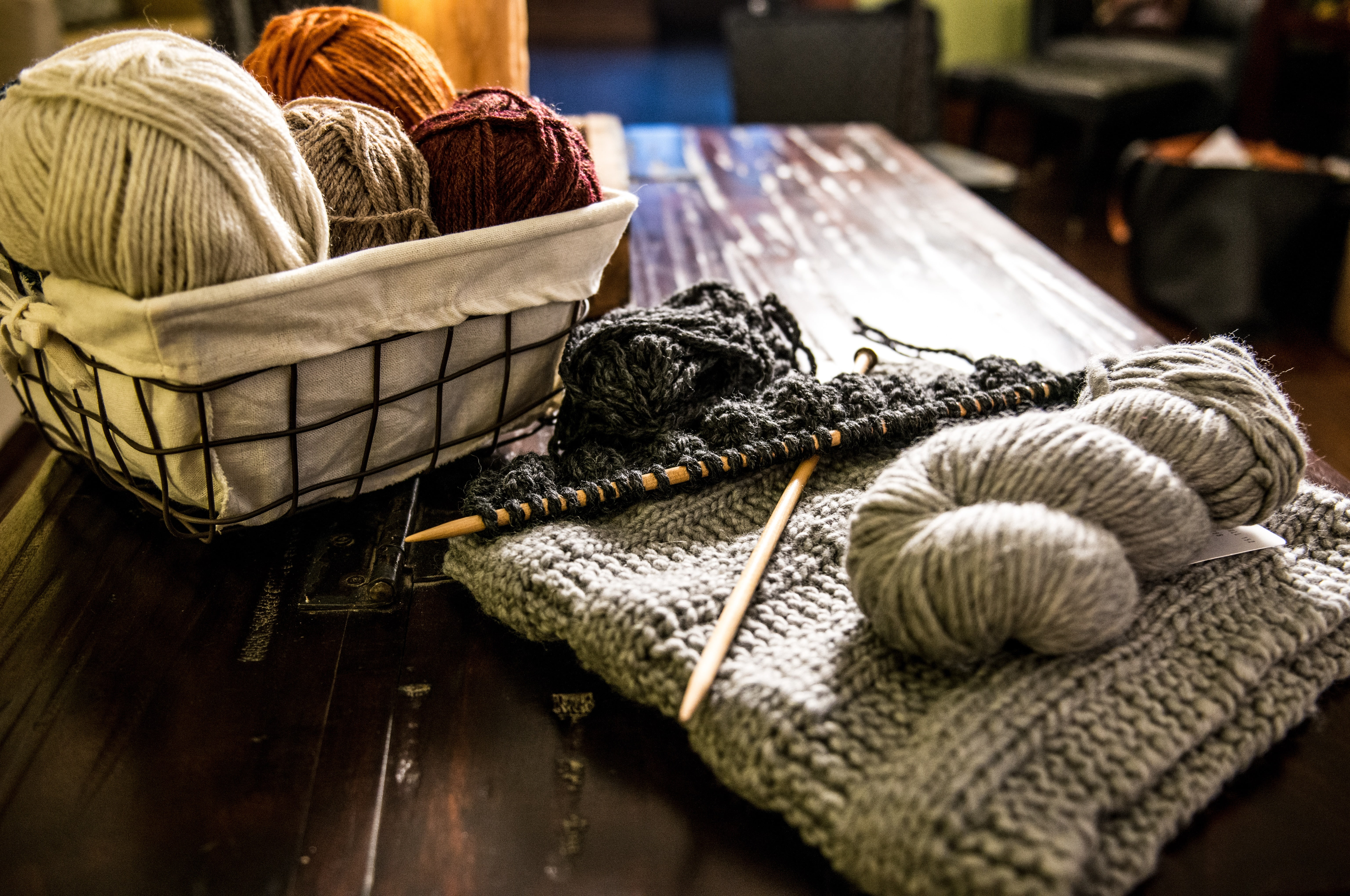 Basket of yarn to be used by a fiber artist