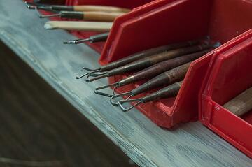 Ceramics tools in a studio