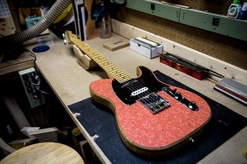 Handmade guitar built in a luthier's workshop