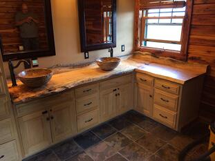 Live edge rustic kitchen countertop design