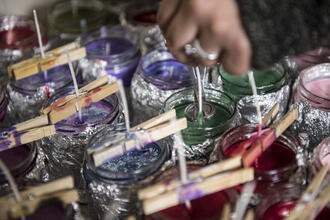 Candle making craft in progress